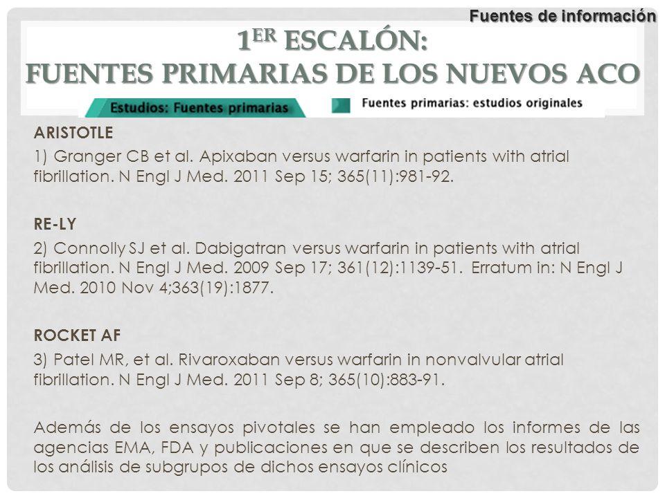 1 ER ESCALÓN: FUENTES PRIMARIAS DE LOS NUEVOS ACO ARISTOTLE 1) Granger CB et al. Apixaban versus warfarin in patients with atrial fibrillation. N Engl