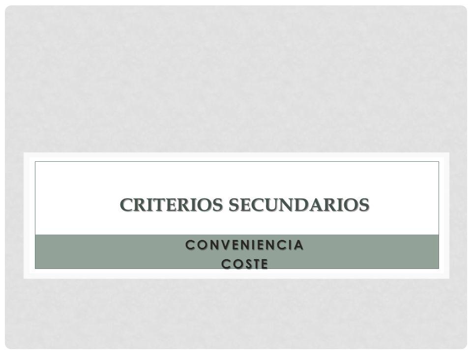 CRITERIOS SECUNDARIOS CONVENIENCIACOSTE