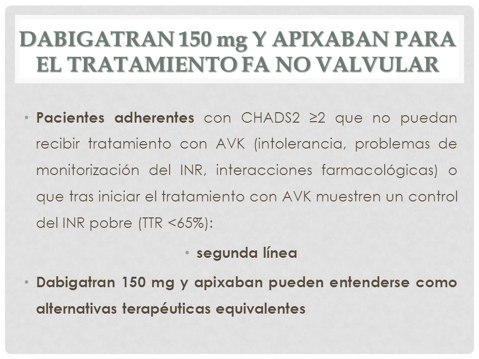 DABIGATRAN 150 mg Y APIXABAN PARA EL TRATAMIENTO FA NO VALVULAR Pacientes adherentes con CHADS2 2 que no puedan recibir tratamiento con AVK (intoleran
