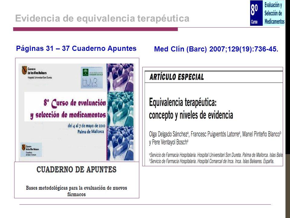 Med Clín (Barc) 2007;129(19):736-45. Evidencia de equivalencia terapéutica Páginas 31 – 37 Cuaderno Apuntes