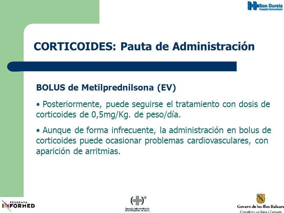 CORTICOIDES: Pauta de Administración BOLUS de Metilprednilsona (EV) Posteriormente, puede seguirse el tratamiento con dosis de corticoides de 0,5mg/Kg