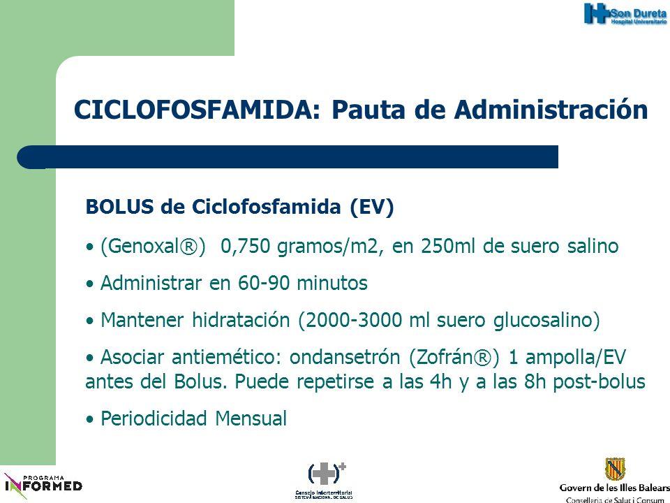 CICLOFOSFAMIDA: Pauta de Administración BOLUS de Ciclofosfamida (EV) Ajuste dosis mensuales Cada 15 días post-Bolus: Control hematológico 5000 leuc.