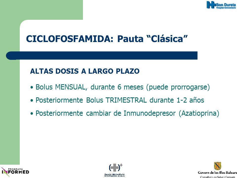 CICLOFOSFAMIDA: Pauta Corta ALTAS DOSIS A CORTO PLAZO Bolus MENSUAL, máximo 6 meses Posteriormente cambiar de Inmunodepresor (Azatioprina)