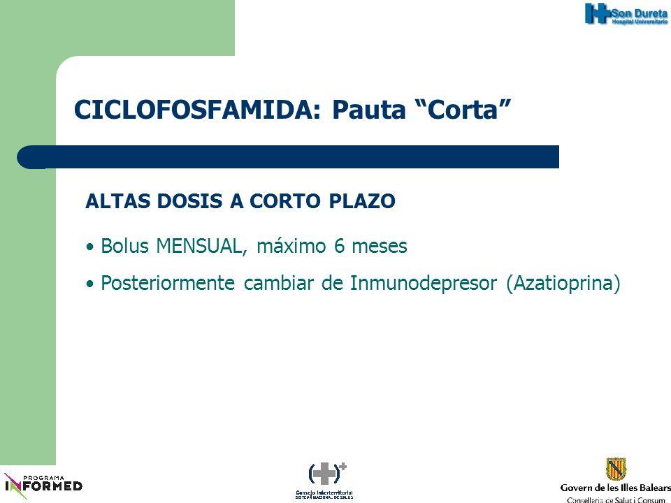 CICLOFOSFAMIDA: Pauta Bajas Dosis BAJAS DOSIS (Pauta St.