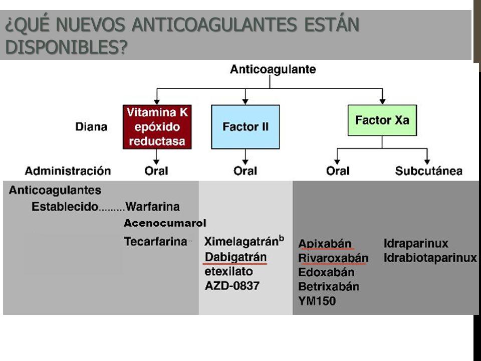 AcenocumarolAcenocumarol ¿QUÉ NUEVOS ANTICOAGULANTES ESTÁN DISPONIBLES?