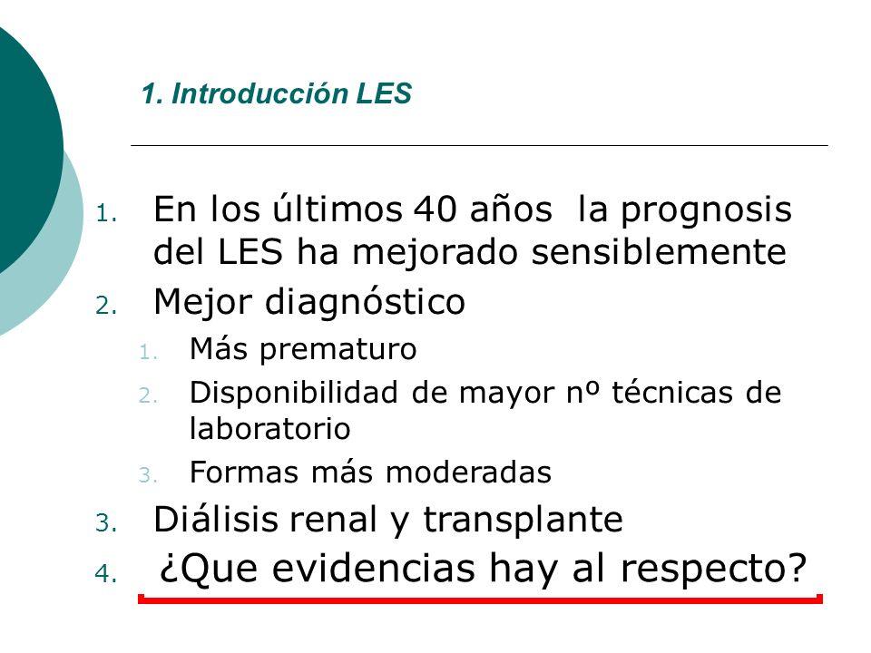 1. Introducción LES 1. En los últimos 40 años la prognosis del LES ha mejorado sensiblemente 2. Mejor diagnóstico 1. Más prematuro 2. Disponibilidad d