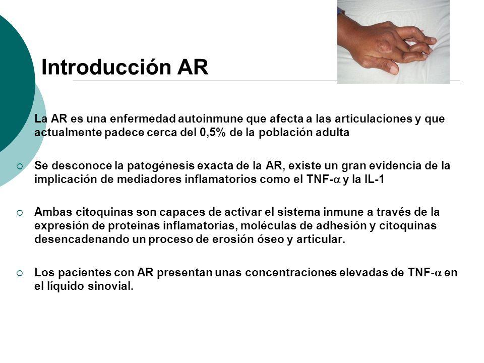 Introducción AR La AR es una enfermedad autoinmune que afecta a las articulaciones y que actualmente padece cerca del 0,5% de la población adulta Se d