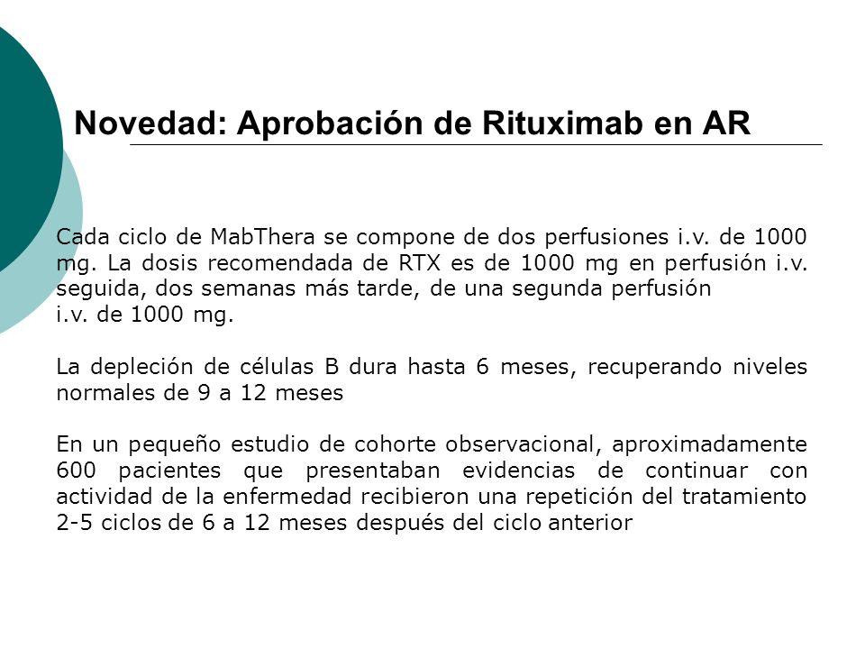 Novedad: Aprobación de Rituximab en AR Cada ciclo de MabThera se compone de dos perfusiones i.v. de 1000 mg. La dosis recomendada de RTX es de 1000 mg