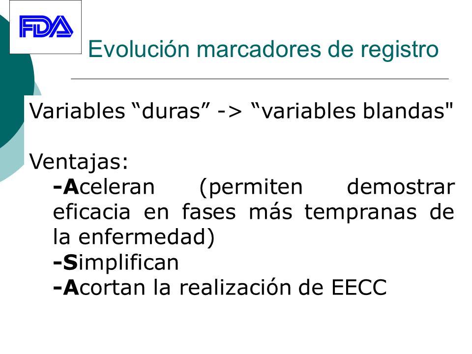 Evolución marcadores de registro Variables duras -> variables blandas