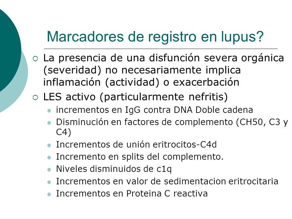 La presencia de una disfunción severa orgánica (severidad) no necesariamente implica inflamación (actividad) o exacerbación LES activo (particularment