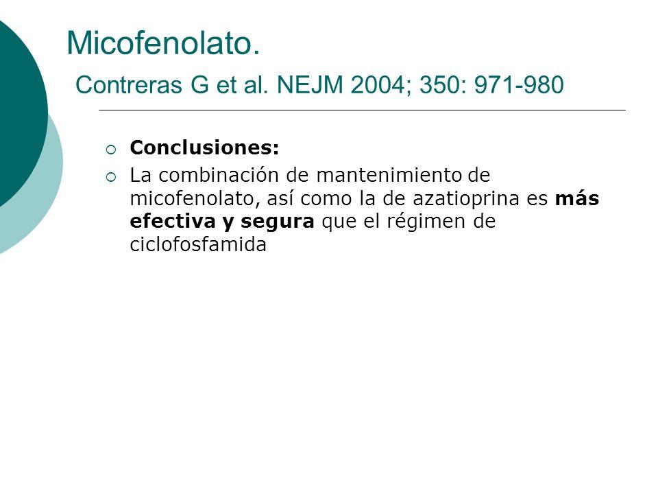 Conclusiones: La combinación de mantenimiento de micofenolato, así como la de azatioprina es más efectiva y segura que el régimen de ciclofosfamida