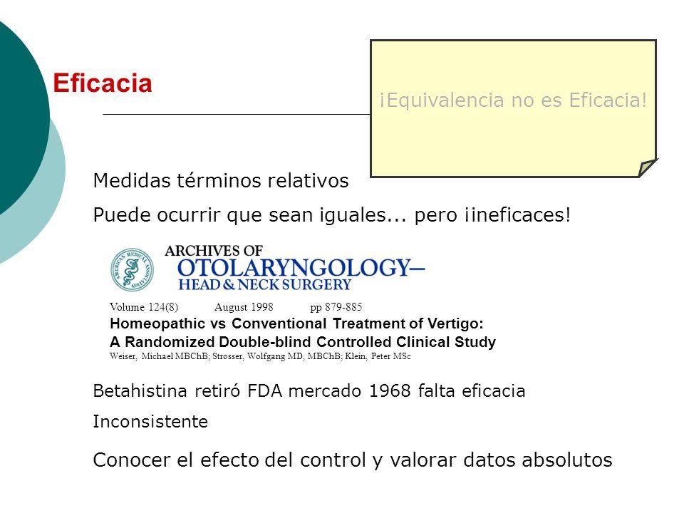 Medidas términos relativos Puede ocurrir que sean iguales... pero ¡ineficaces! ¡Equivalencia no es Eficacia! Volume 124(8) August 1998 pp 879-885 Home