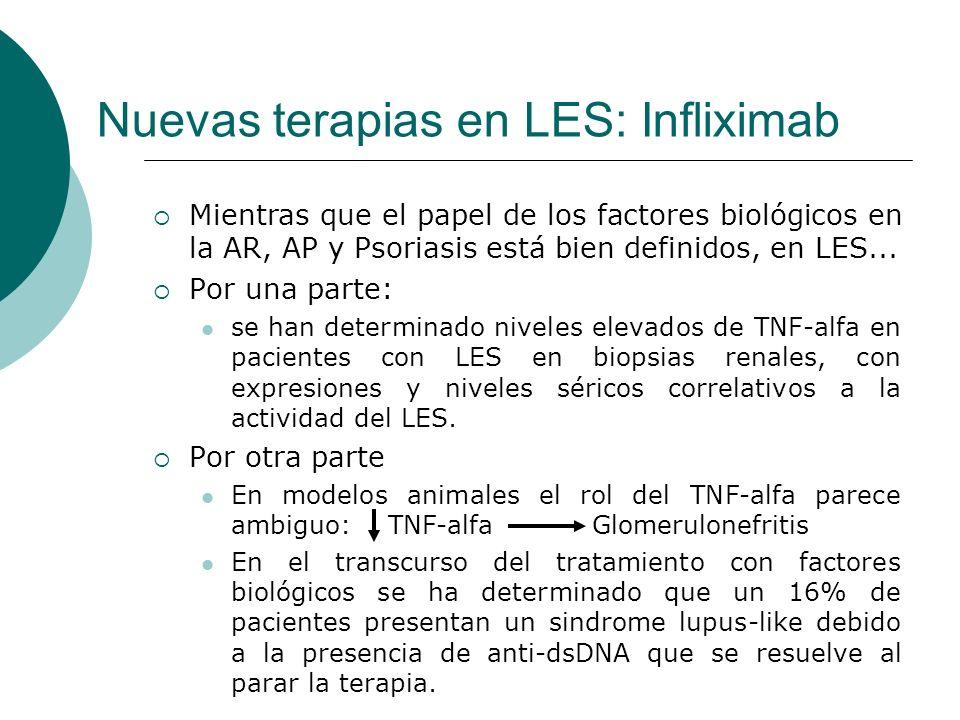 Nuevas terapias en LES: Infliximab Mientras que el papel de los factores biológicos en la AR, AP y Psoriasis está bien definidos, en LES... Por una pa