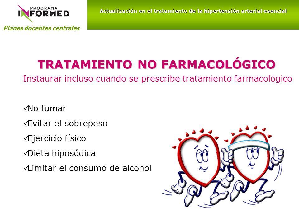 TRATAMIENTO NO FARMACOLÓGICO Planes docentes centrales Actualización en el tratamiento de la hipertensión arterial esencial Instaurar incluso cuando s