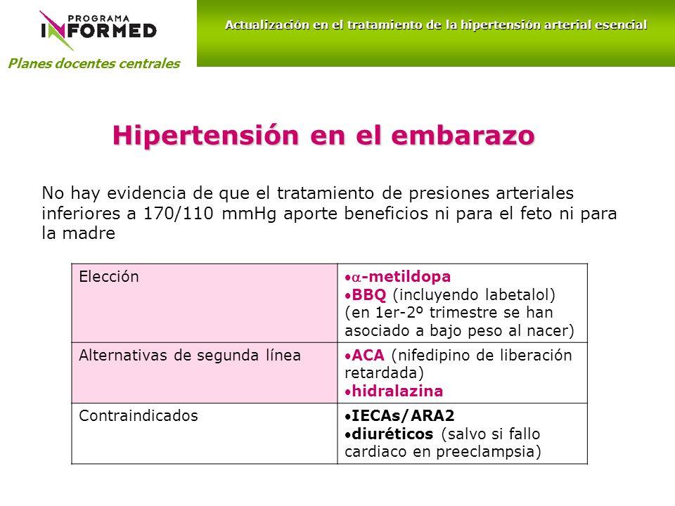 Hipertensión en el embarazo Planes docentes centrales Actualización en el tratamiento de la hipertensión arterial esencial Elección -metildopa BBQ (in