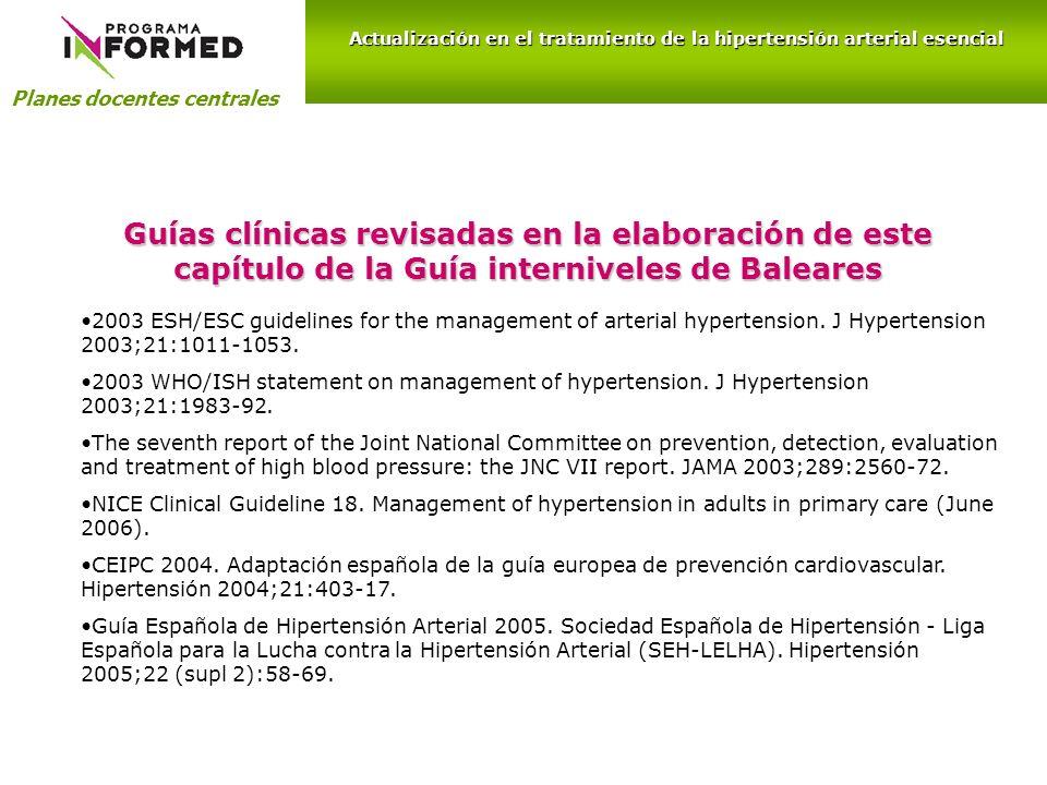 Guías clínicas revisadas en la elaboración de este capítulo de la Guía interniveles de Baleares 2003 ESH/ESC guidelines for the management of arterial