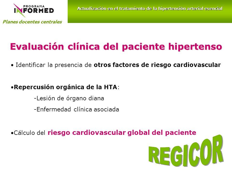 Evaluación clínica del paciente hipertenso Identificar la presencia de otros factores de riesgo cardiovascular Repercusión orgánica de la HTA: -Lesión