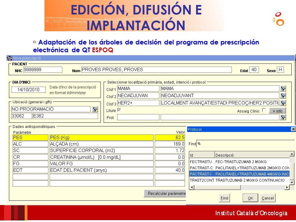 EDICIÓN, DIFUSIÓN E IMPLANTACIÓN Adaptación de los árboles de decisión del programa de prescripción electrónica de QTESPOQ Adaptación de los árboles d