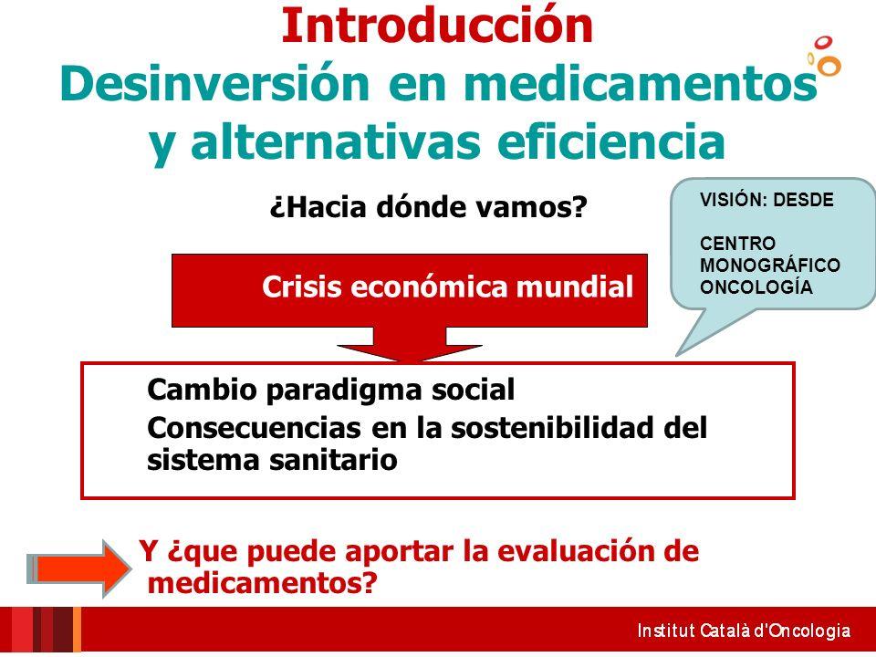 Introducción Desinversión en medicamentos y alternativas eficiencia ¿Hacia dónde vamos? Crisis económica mundial Cambio paradigma social Consecuencias