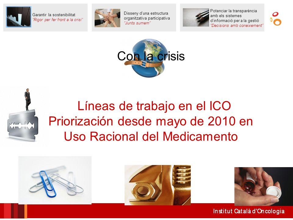 Con la crisis Líneas de trabajo en el ICO Priorización desde mayo de 2010 en Uso Racional del Medicamento Disseny duna estructura organitzativa partic