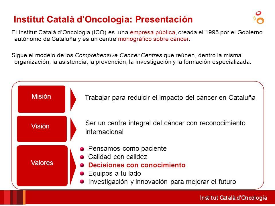 El Institut Català dOncologia (ICO) es una empresa pública, creada el 1995 por el Gobierno autónomo de Cataluña y es un centre monogràfico sobre cánce