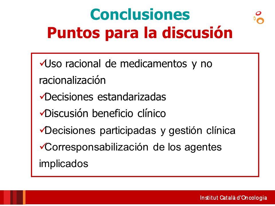 Conclusiones Puntos para la discusión Uso racional de medicamentos y no racionalización Decisiones estandarizadas Discusión beneficio clínico Decision