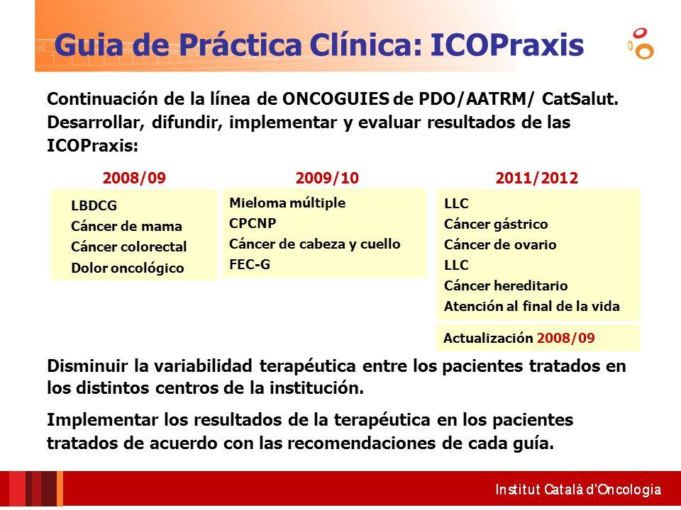 Guia de Práctica Clínica: ICOPraxis Continuación de la línea de ONCOGUIES de PDO/AATRM/ CatSalut. Desarrollar, difundir, implementar y evaluar resulta
