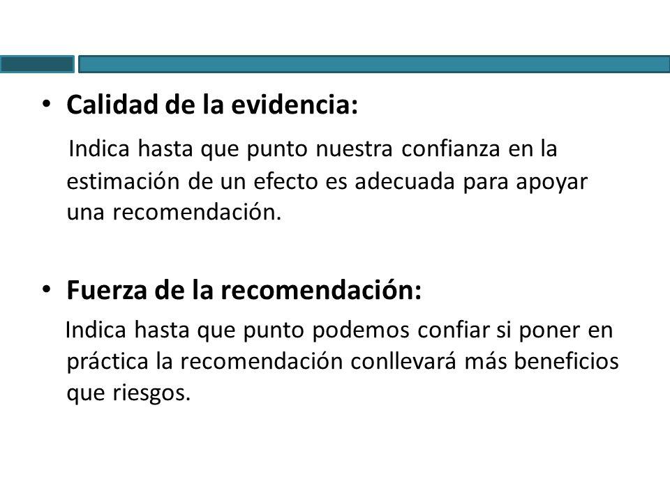 Calidad de la evidencia: Indica hasta que punto nuestra confianza en la estimación de un efecto es adecuada para apoyar una recomendación. Fuerza de l