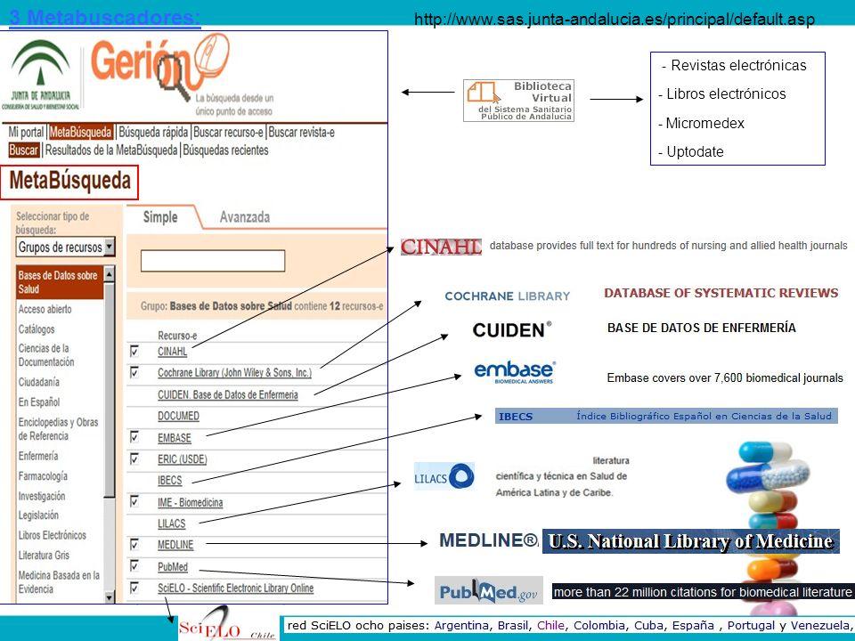 http://www.sas.junta-andalucia.es/principal/default.asp - Revistas electrónicas - Libros electrónicos - Micromedex - Uptodate 3 Metabuscadores: