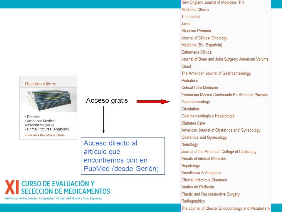 Acceso gratis Acceso directo al artículo que encontremos con en PubMed (desde Gerión)