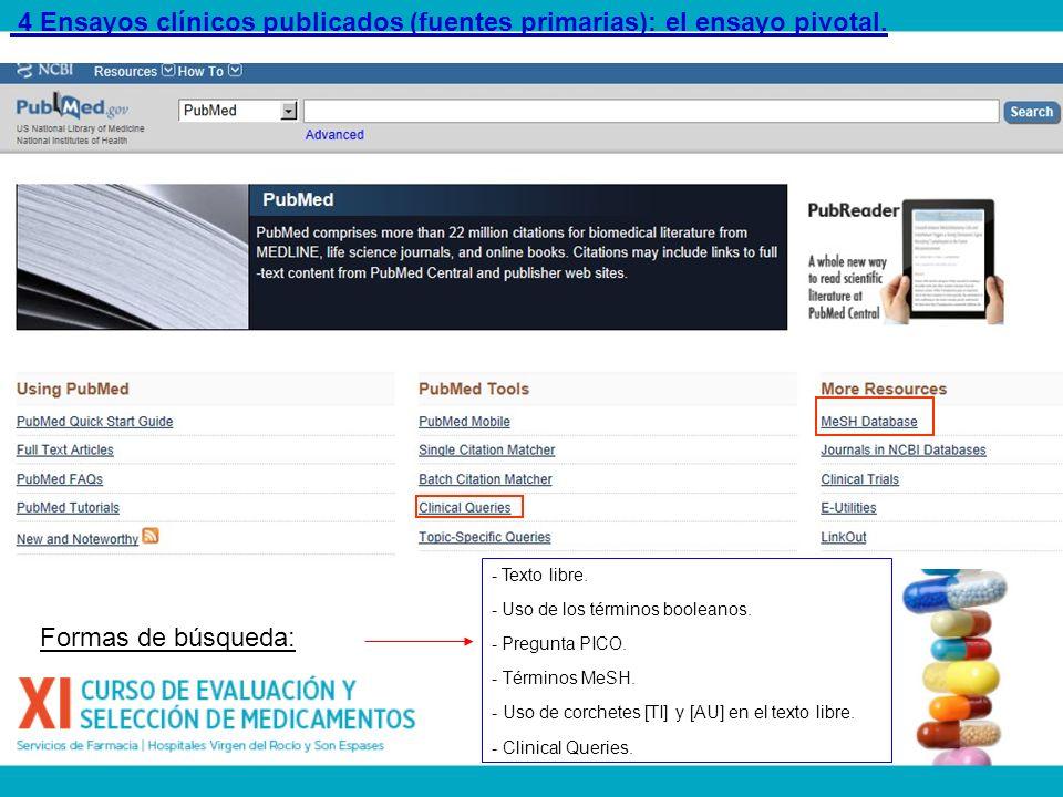 4 Ensayos clínicos publicados (fuentes primarias): el ensayo pivotal. - Texto libre. - Uso de los términos booleanos. - Pregunta PICO. - Términos MeSH