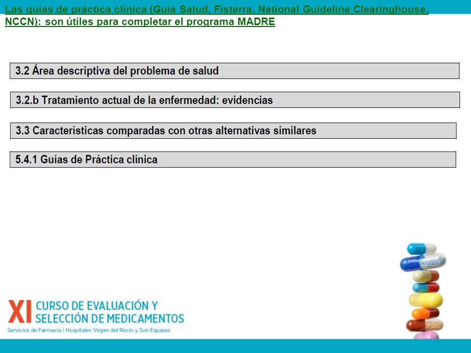 Las guías de práctica clínica (Guía Salud, Fisterra, National Guideline Clearinghouse, NCCN): son útiles para completar el programa MADRE