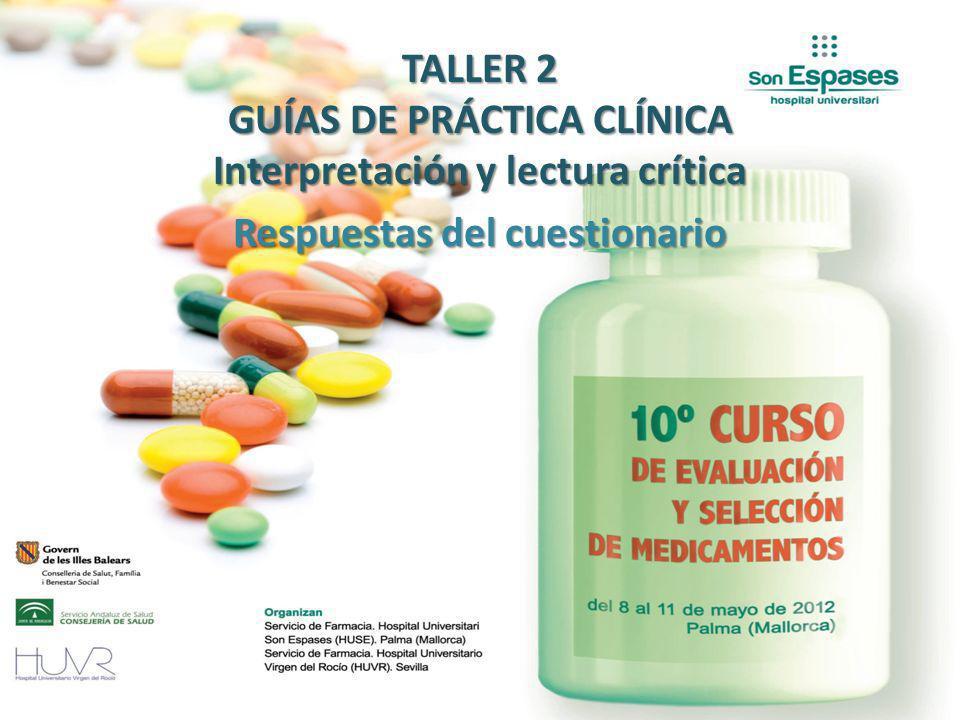 TALLER 2 GUÍAS DE PRÁCTICA CLÍNICA Interpretación y lectura crítica Respuestas del cuestionario