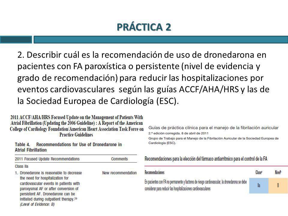 PRÁCTICA 2 2. Describir cuál es la recomendación de uso de dronedarona en pacientes con FA paroxística o persistente (nivel de evidencia y grado de re