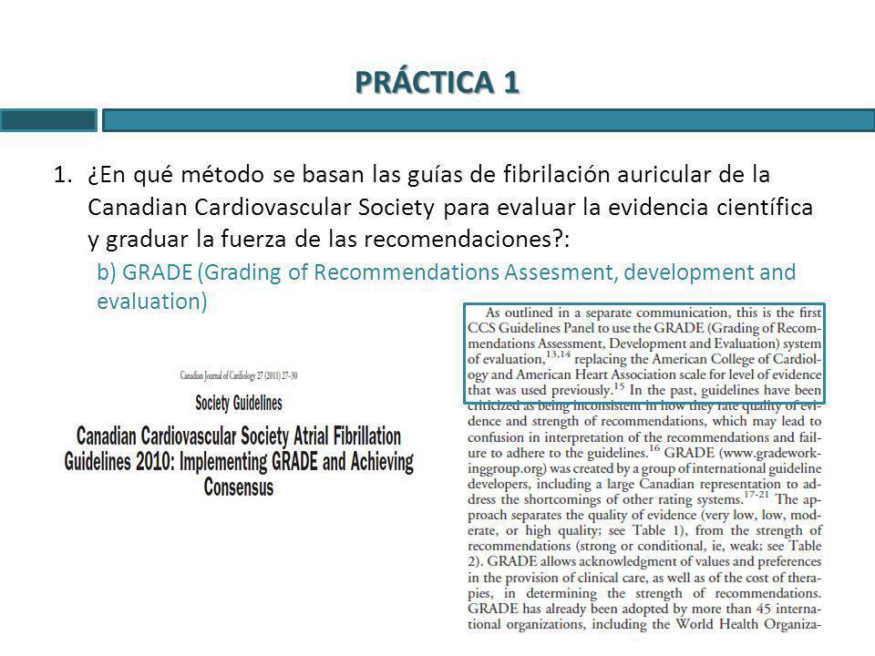 1.¿En qué método se basan las guías de fibrilación auricular de la Canadian Cardiovascular Society para evaluar la evidencia científica y graduar la f