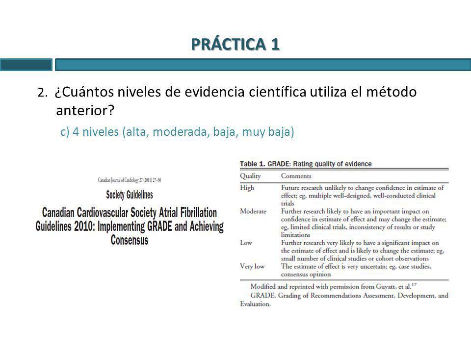 2. ¿Cuántos niveles de evidencia científica utiliza el método anterior? c) 4 niveles (alta, moderada, baja, muy baja)