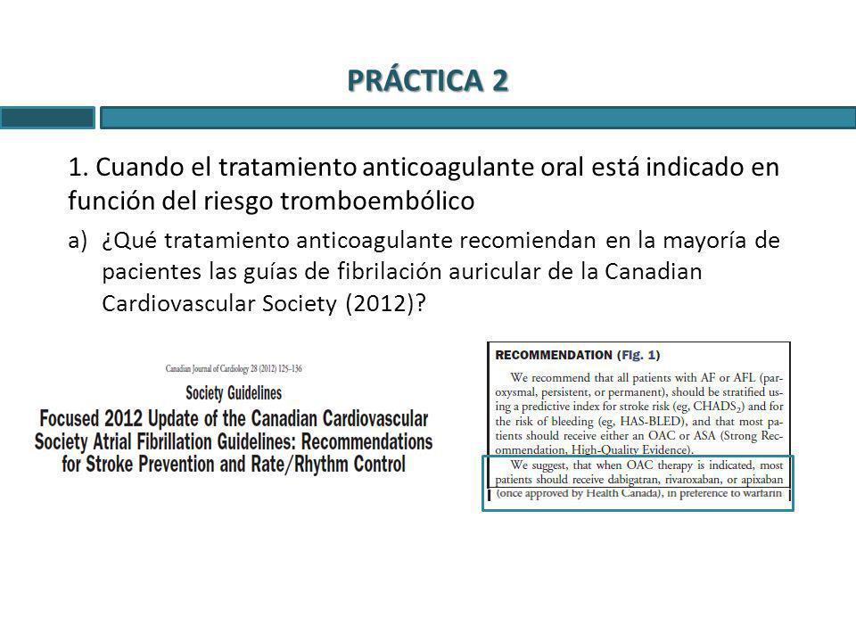 PRÁCTICA 2 1. Cuando el tratamiento anticoagulante oral está indicado en función del riesgo tromboembólico a)¿Qué tratamiento anticoagulante recomiend