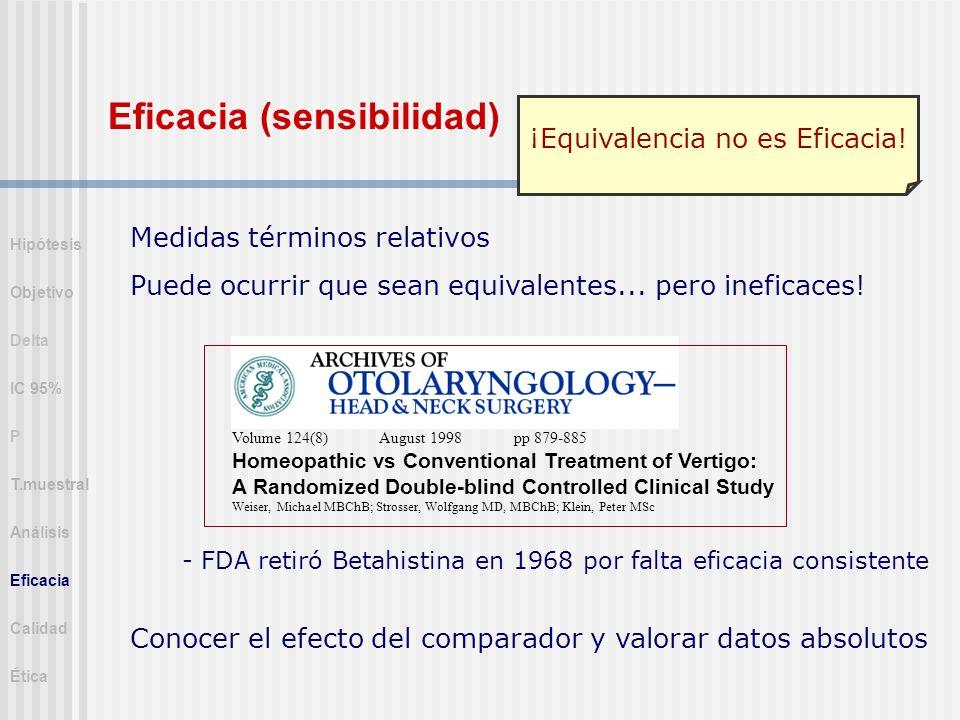 Medidas términos relativos Puede ocurrir que sean equivalentes... pero ineficaces! ¡Equivalencia no es Eficacia! - FDA retiró Betahistina en 1968 por