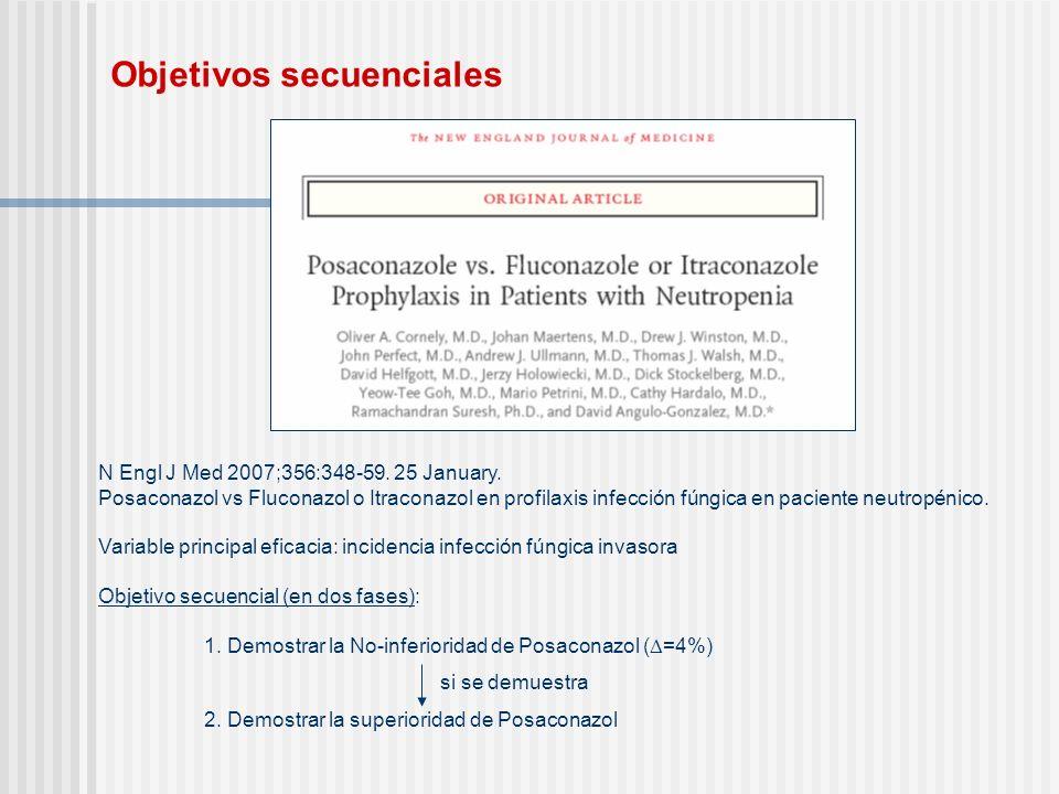 Objetivos secuenciales N Engl J Med 2007;356:348-59. 25 January. Posaconazol vs Fluconazol o Itraconazol en profilaxis infección fúngica en paciente n