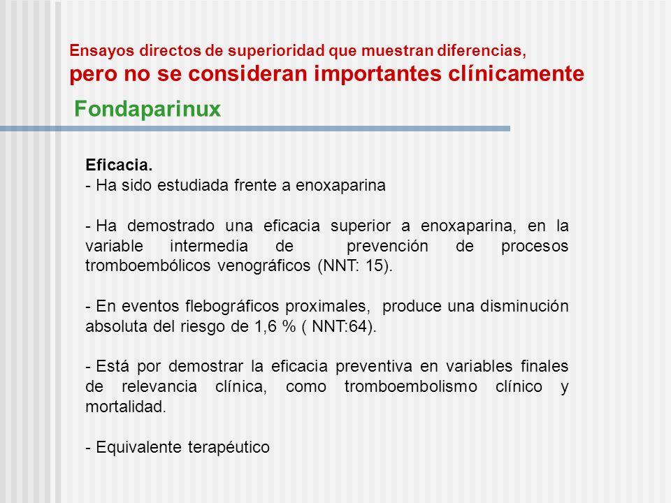 Ensayos directos de superioridad que muestran diferencias, pero no se consideran importantes clínicamente Fondaparinux Eficacia. - Ha sido estudiada f