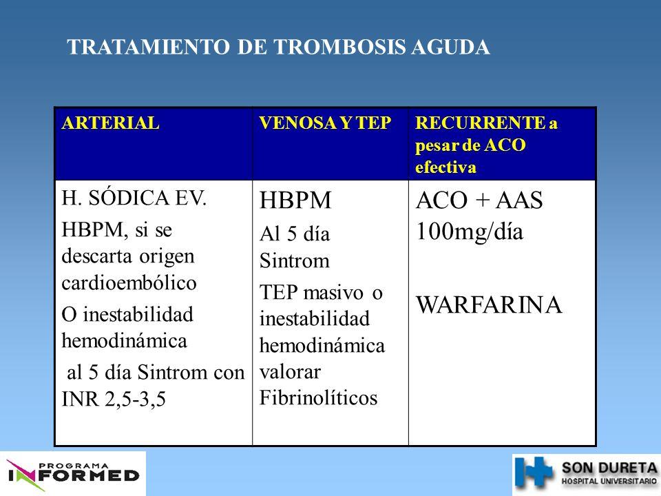 TRATAMIENTO DE TROMBOSIS AGUDA ARTERIALVENOSA Y TEPRECURRENTE a pesar de ACO efectiva H. SÓDICA EV. HBPM, si se descarta origen cardioembólico O inest