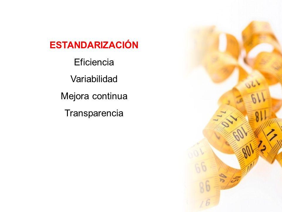 ESTANDARIZACIÓN Eficiencia Variabilidad Mejora continua Transparencia