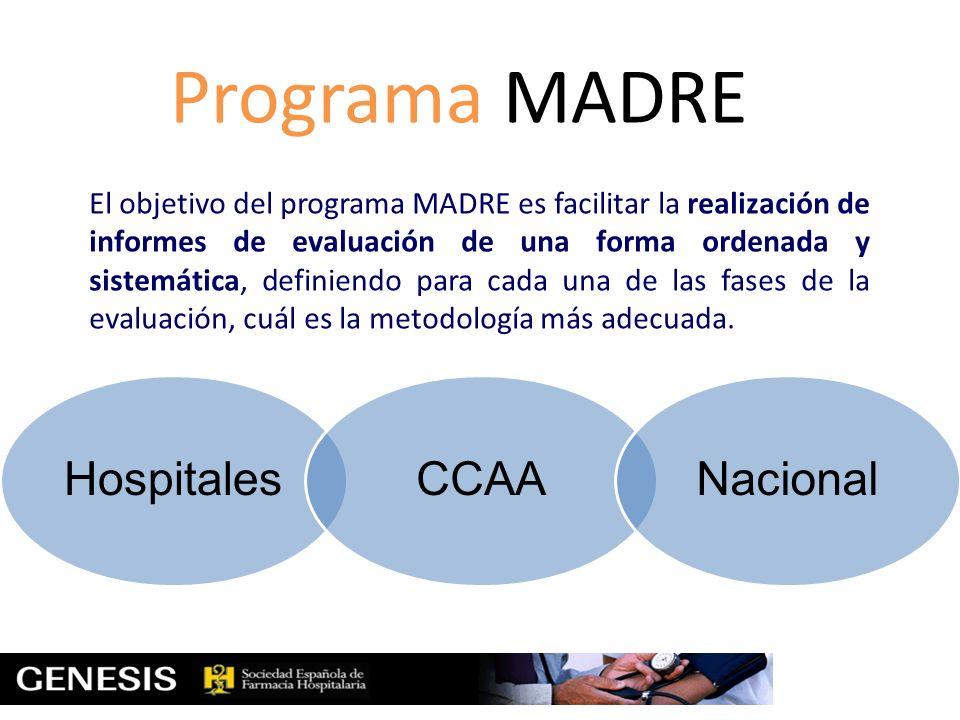 Programa MADRE El objetivo del programa MADRE es facilitar la realización de informes de evaluación de una forma ordenada y sistemática, definiendo pa