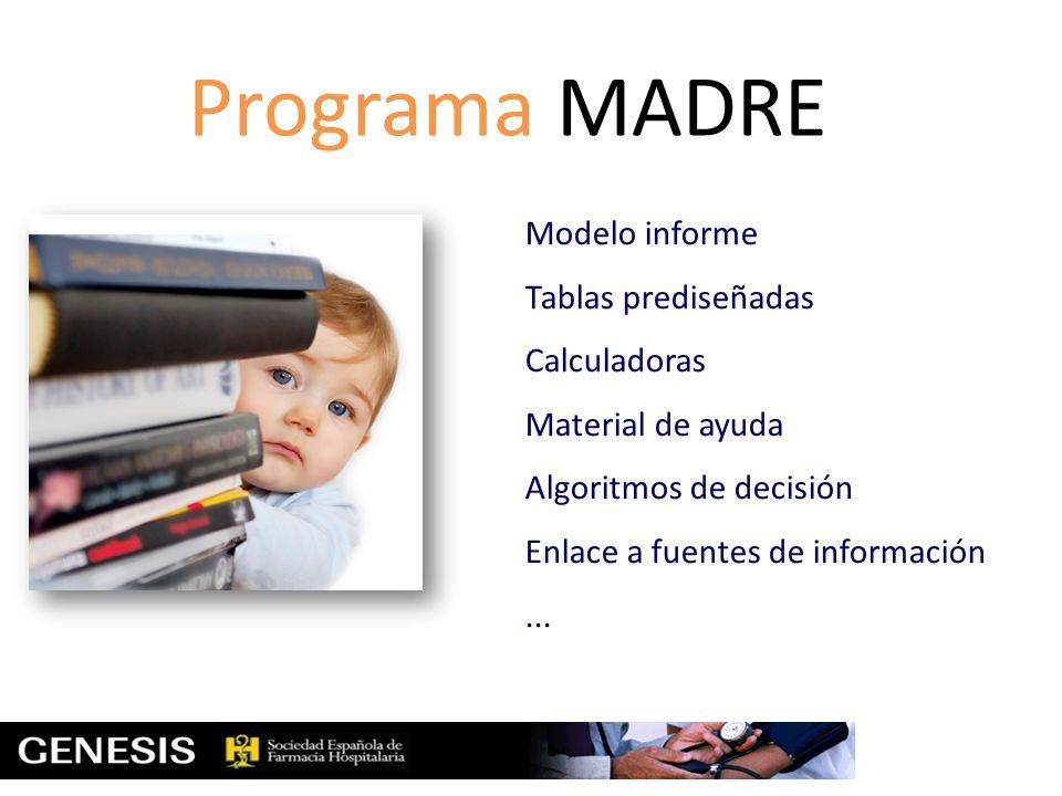 Programa MADRE Modelo informe Tablas prediseñadas Calculadoras Material de ayuda Algoritmos de decisión Enlace a fuentes de información...