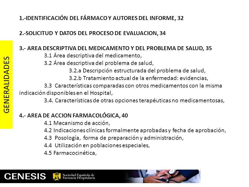 1.-IDENTIFICACIÓN DEL FÁRMACO Y AUTORES DEL INFORME, 32 2.-SOLICITUD Y DATOS DEL PROCESO DE EVALUACION, 34 3.- AREA DESCRIPTIVA DEL MEDICAMENTO Y DEL