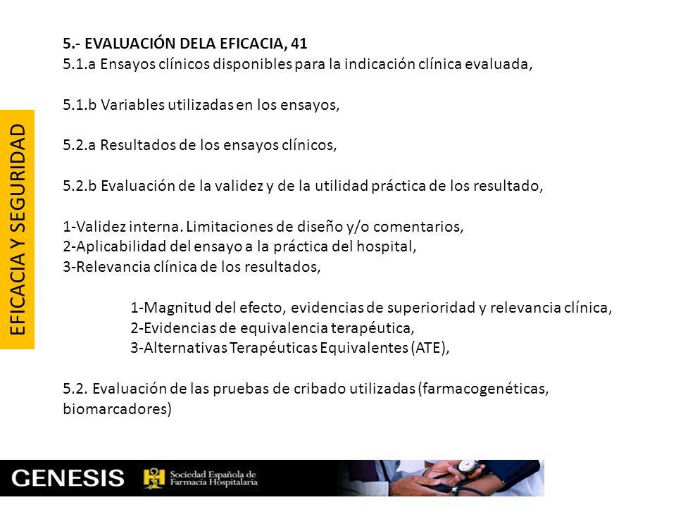 5.- EVALUACIÓN DELA EFICACIA, 41 5.1.a Ensayos clínicos disponibles para la indicación clínica evaluada, 5.1.b Variables utilizadas en los ensayos, 5.