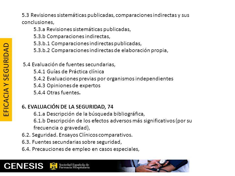 5.3 Revisiones sistemáticas publicadas, comparaciones indirectas y sus conclusiones, 5.3.a Revisiones sistemáticas publicadas, 5.3.b Comparaciones ind