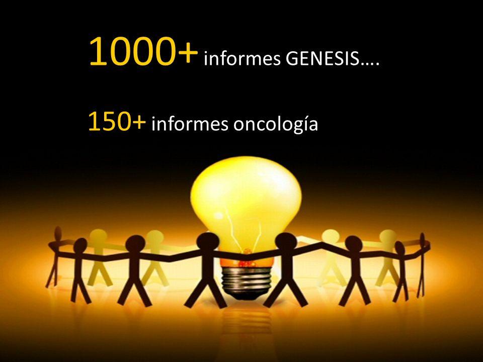 1000+ informes GENESIS…. 150+ informes oncología