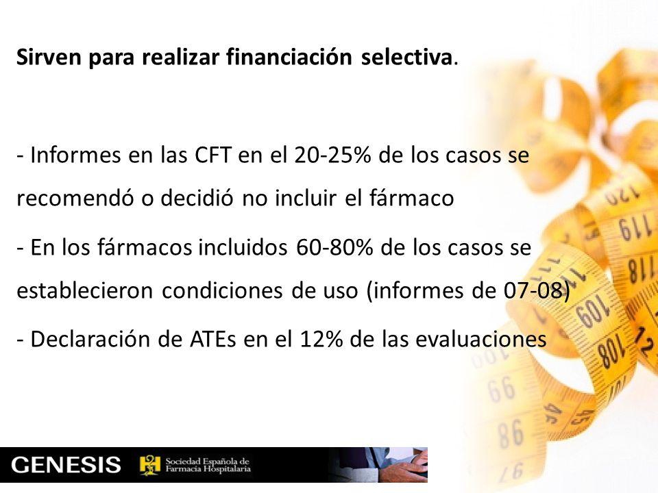 Sirven para realizar financiación selectiva. - Informes en las CFT en el 20-25% de los casos se recomendó o decidió no incluir el fármaco - En los fár