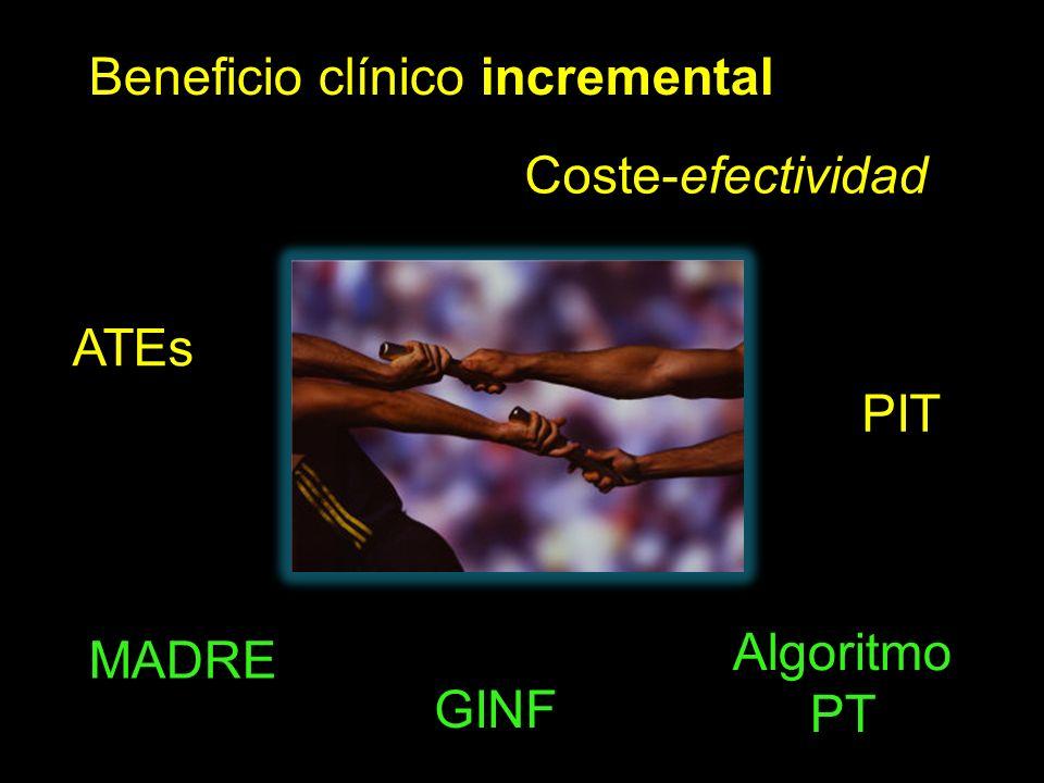 Beneficio clínico incremental PIT Coste-efectividad ATEs MADRE GINF Algoritmo PT